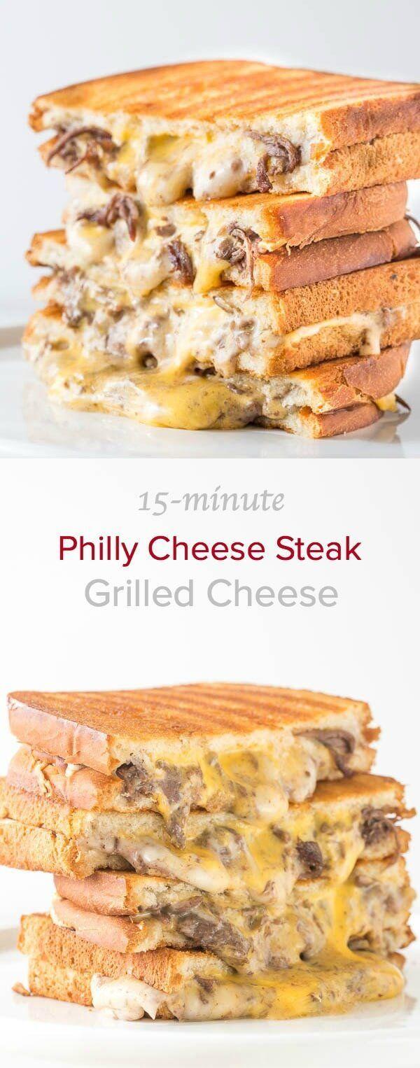 15-Minute Philly Cheese Steak Grilled Cheese via /shineshka/