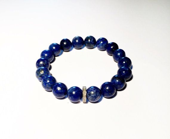 Blue bracelet with diamond, diamond and blue bracelet, blue lapis and diamond bracelet