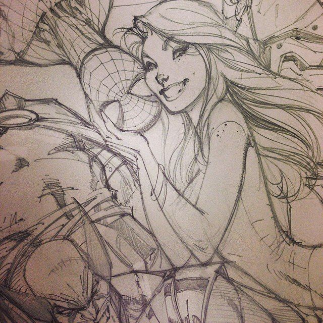 Spider-man Sketch, J scott Campbell Mary-Jane, Wolverine. Concept Art Sketch / Drawing Illustration Inspiration
