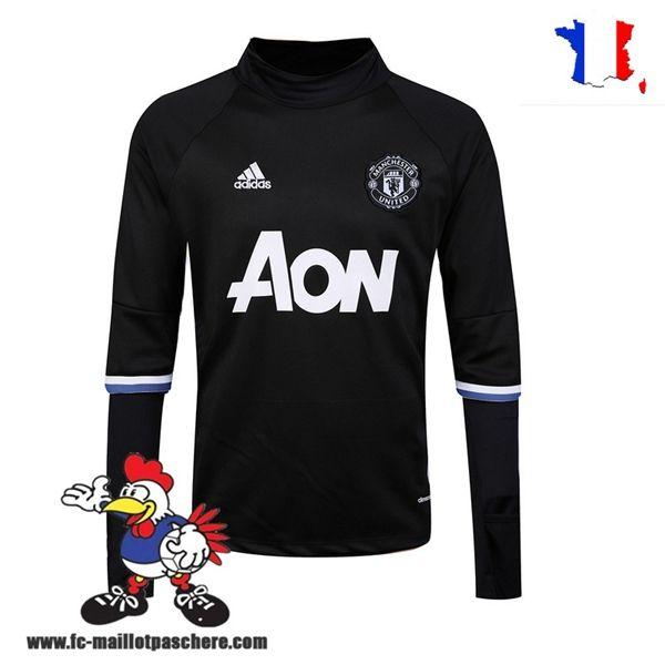 Promo Nouveau Homme Sweatshirt Training Manchester United Noir/Blanc Saison 16 17 Thailande
