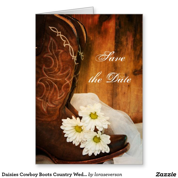 Daisies Cowboy Boots Country Wedding Save the Date Greeting Card