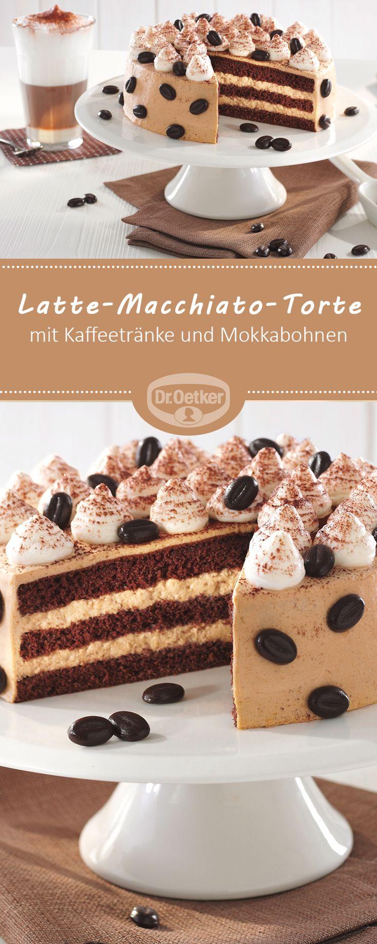 Kleine Latte-Macchiato-Torte - Sahnetorte mit Kaffeetränke und Mokkabohnen zur Kaffeezeit #rezept #torte #coffee