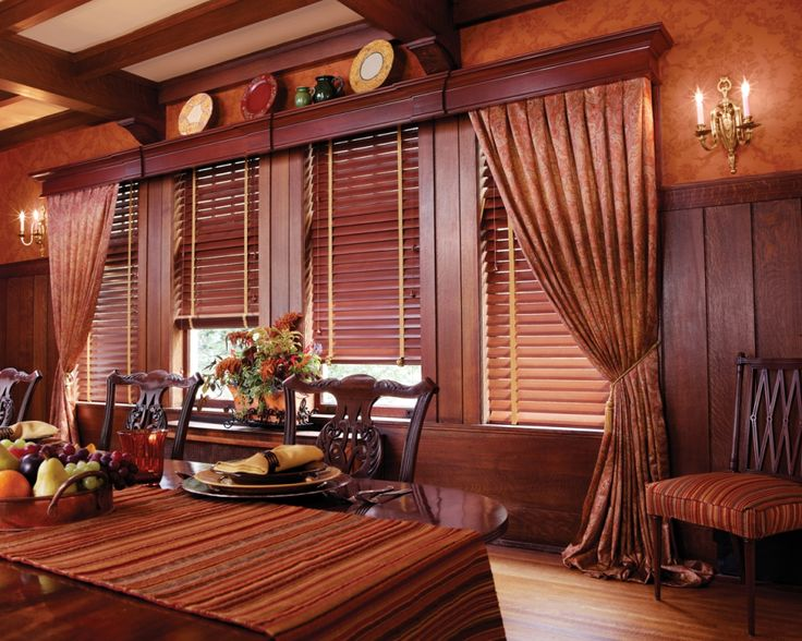 Two And One Half Inch Faux Wood Blinds With Wood Cornice Box And Drapery Panels