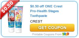 Need kids toothpaste? Save $0.50 off ONE Crest Pro-Health Stages Toothpaste