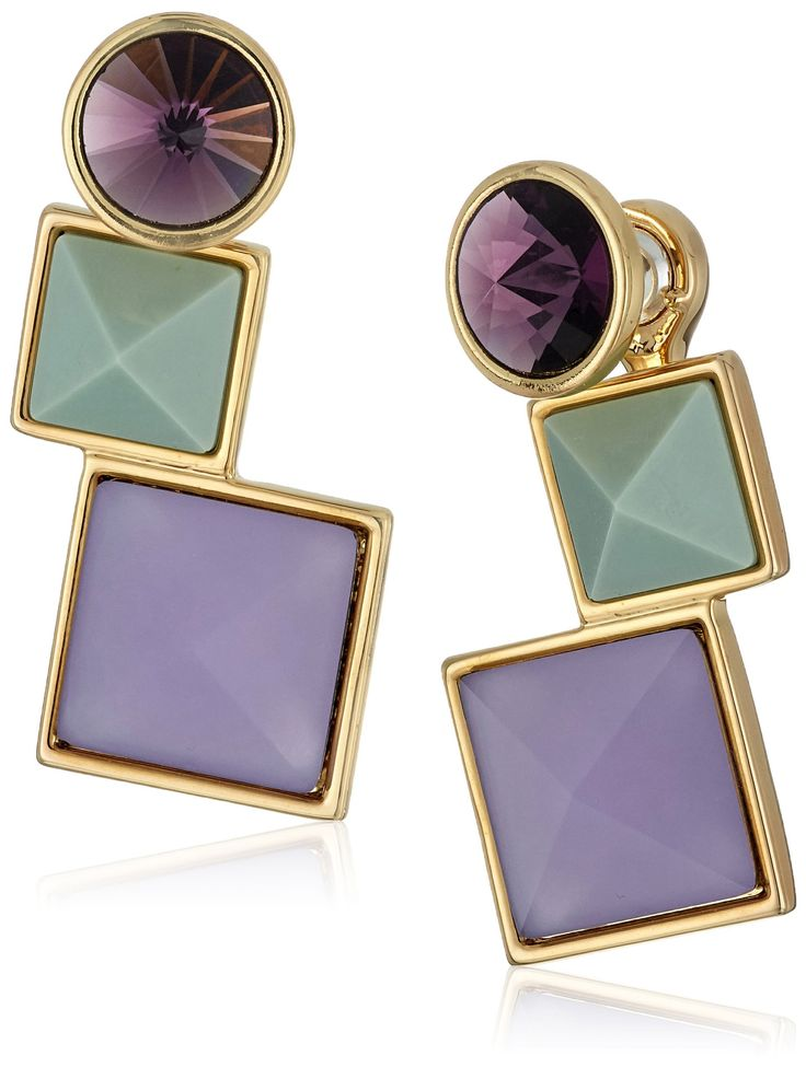 Rebecca Minkoff Large Three Stone Front To Back Earrings. Made in China. Gold plated statement earring with green, blue and purple stones. Store in protective pouch, do not wear in water. Designed in New York, Made in China. Imported.
