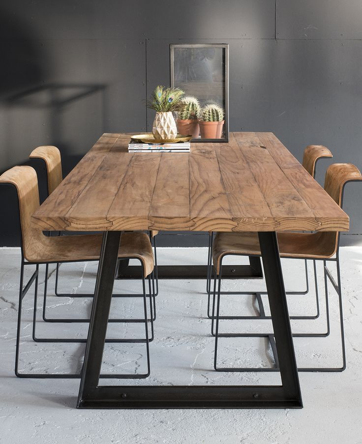 Wooden & Steel Table, Design By VanGijs - Shop Online #woodandsteeltable