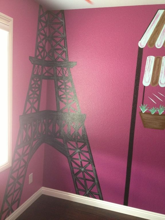 Paris themed litle girls room.