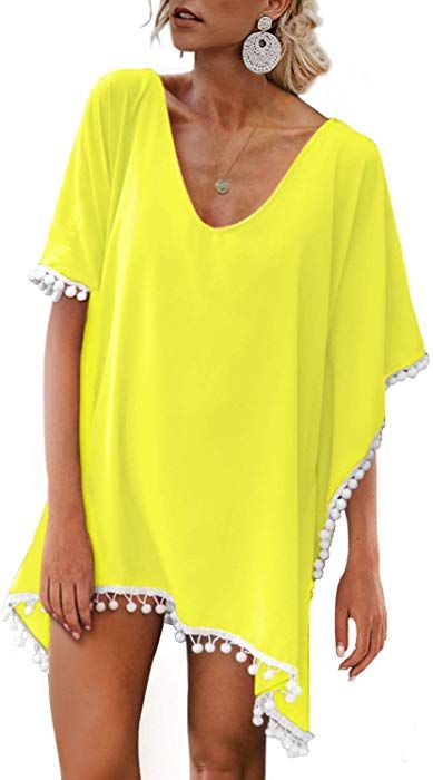 6744e80831 Adreamly Women's Pom Pom Trim Kaftan Stylish Chiffon Swimsuit Beach Cover up  Free Size Royal Blue at Amazon Women's Clothing store: