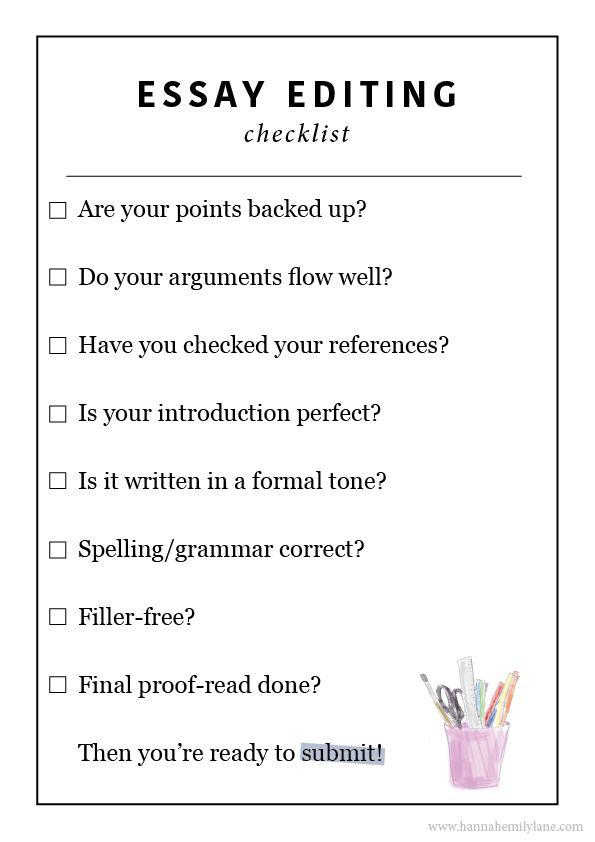 Essay editing checklist | www.hannahemilylane.com