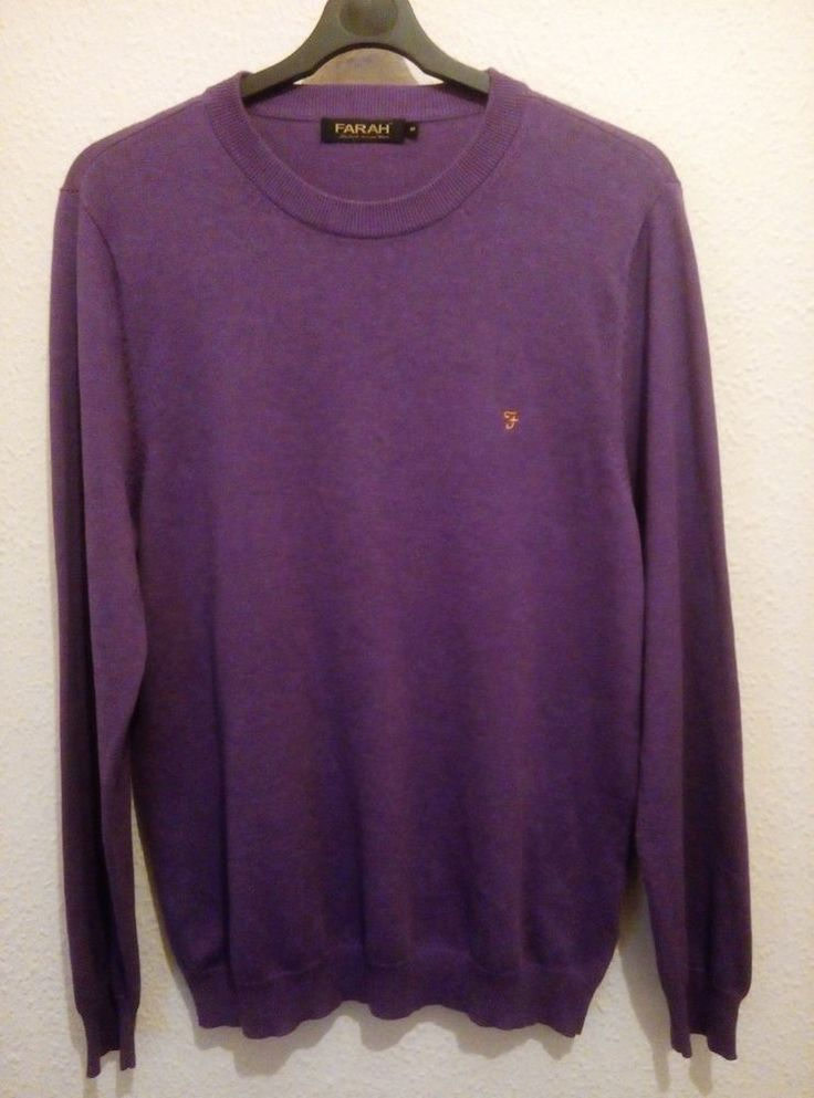 FARAH Jumper Sweater Crew Neck Knit Purple Embroidered Logo Pima Cotton Size M