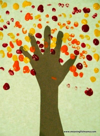 Childrens activity: Handprint and fingerprint tree