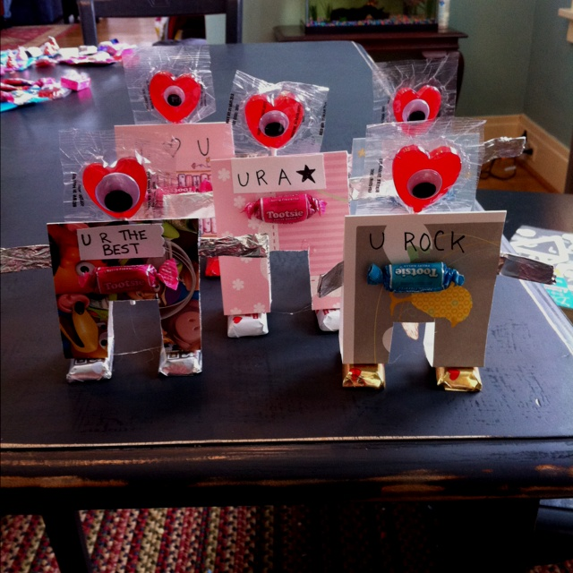 Valentine Robots made from old greeting cards (Idea from the family fun website)
