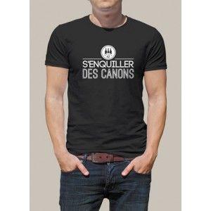 """Tee shirt imprimé """"S'enquiller des canons."""" Coupe homme, pour un Tee shirt personnalisé made in Saint-Etienne. Maillot manches courtes personnalisé à l'effigie du parler stéphanois. Tee shirt original pour tous les fans du patois de Saint-Etienne."""