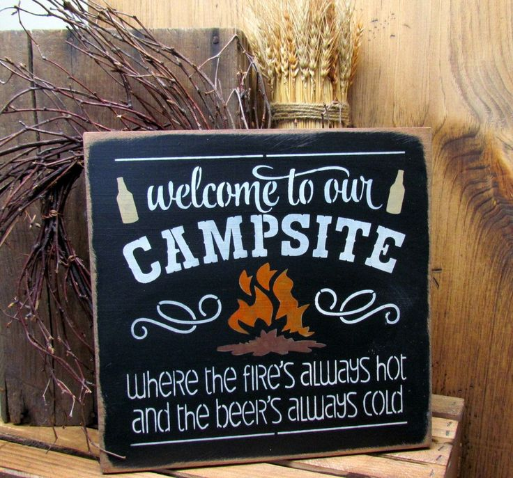 Sign for the Campsite, Camping sign, Fathers Day Gift, Rv Sign, Camping Gift, Campfire Sign, Happy Campers, Sign for Camspsite, Camping by Woodticks on Etsy https://www.etsy.com/listing/185934111/sign-for-the-campsite-camping-sign