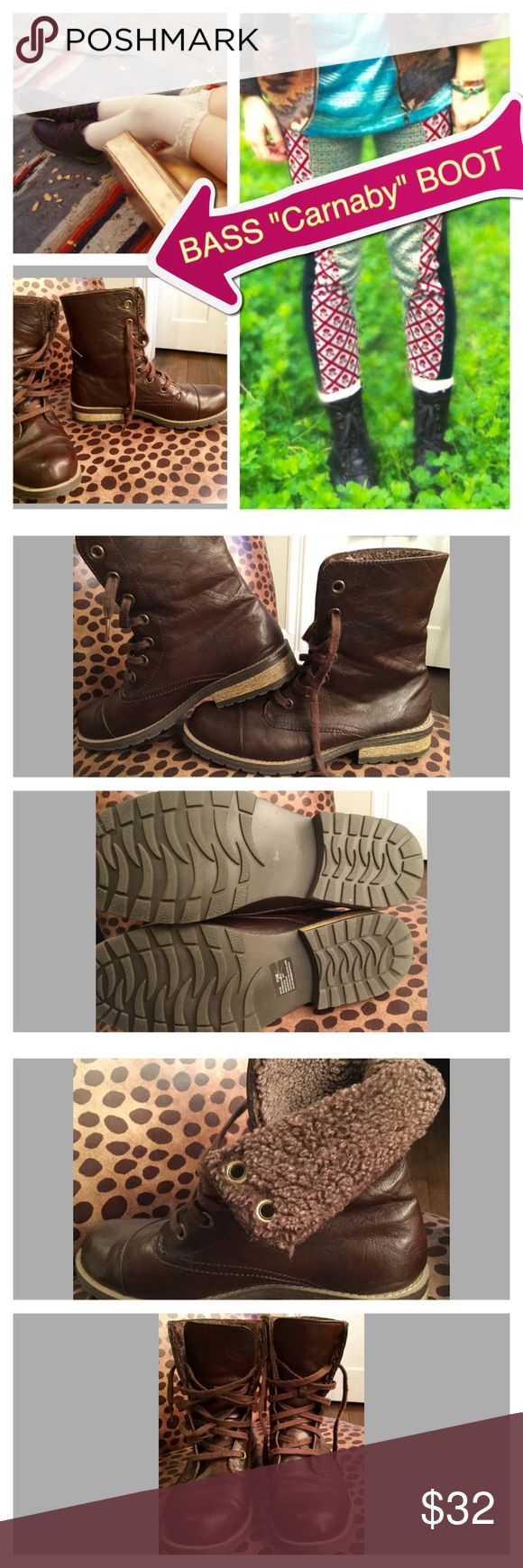 """Bass """"Carnaby"""" $120 Brown Lace Ups Bass Brown Carnaby Boot in size 7.5. Both man made/leather materials. These are in excellent, preowned condition. See the soles to see how little they've been worn. Can be worn up or cuffed down. Insides are made of super soft, fuzzy lining. Bass Shoes"""