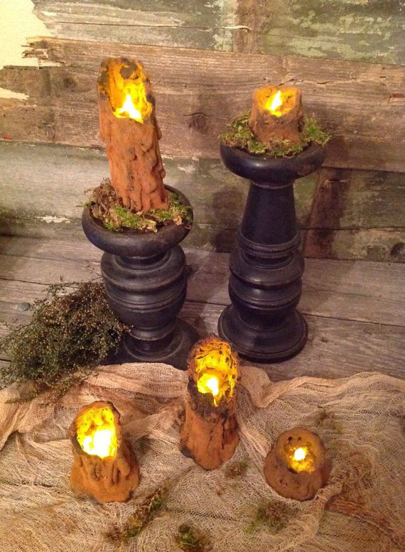 Primitive Witchy Salem Halloween Waxless Candles by by Primigram