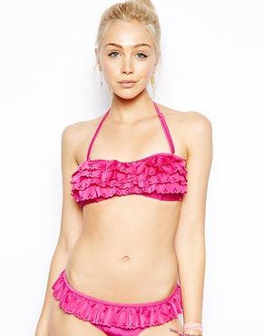 River Island Sally Scallop Bandeau Bikini Top