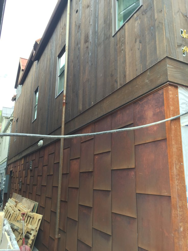 17 best images about house exterior on pinterest for Metal wood siding