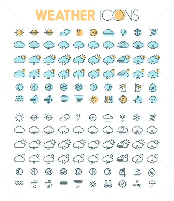Flat Thin Line Weather Icons Set. Download here: http://graphicriver.net/item/flat-thin-line-weather-icons-set/15832370?ref=ksioks