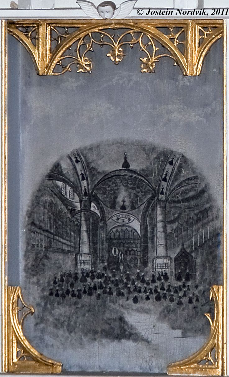 Medieval canvas painting, depicting the interior of the Hagia Sofia cathedral. The canvas is now mounted in the altar board of the Syvde church in Vanylven municipality, Norway.