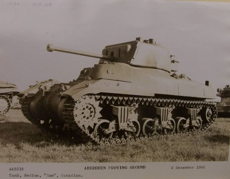 Front-Left view of the M4A5 Medium Tank / Ram Mk.II late Production Model. Evident is the elimination of the auxiliary gun turret on the Left side of the Front Hull and Side Doors.