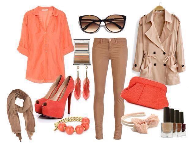 bege & laranja