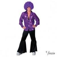 Déguisement Homme Chemise Paillette Violette