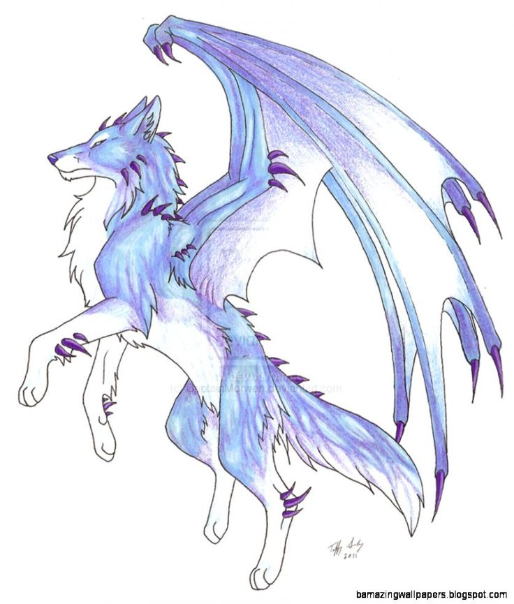 Anime Ice Wolf With Wings | Wallpapers Gallery