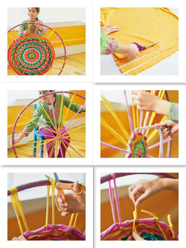 Tapis fait main http://spoonful.com/crafts/hula-hoop-rug                                                                                                                                                     Plus