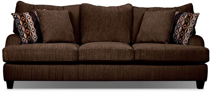 Living Room Furniture - Putty Chenille Queen-Size Sofa Bed - Chocolate