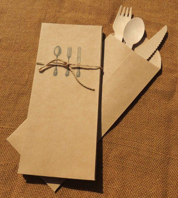 Kraft cubiertos sobres cubiertos saco cubiertos por OurVintageBliss