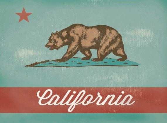 Vintage California Canvas Print California Flag by PixelPerfect12