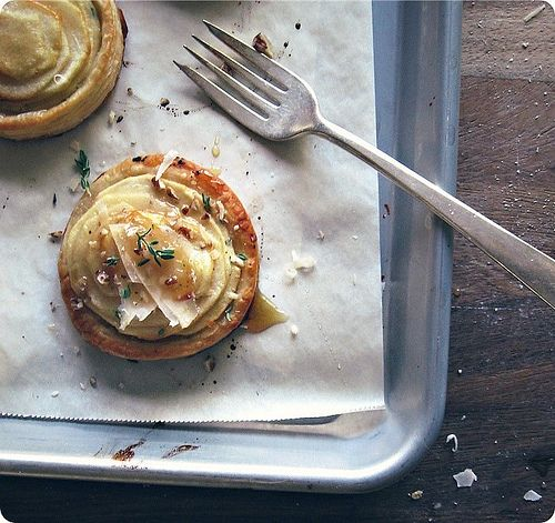 Apple and Goat Cheese Tartlets with Thyme Honey by seven spoons • tara, via Flickr