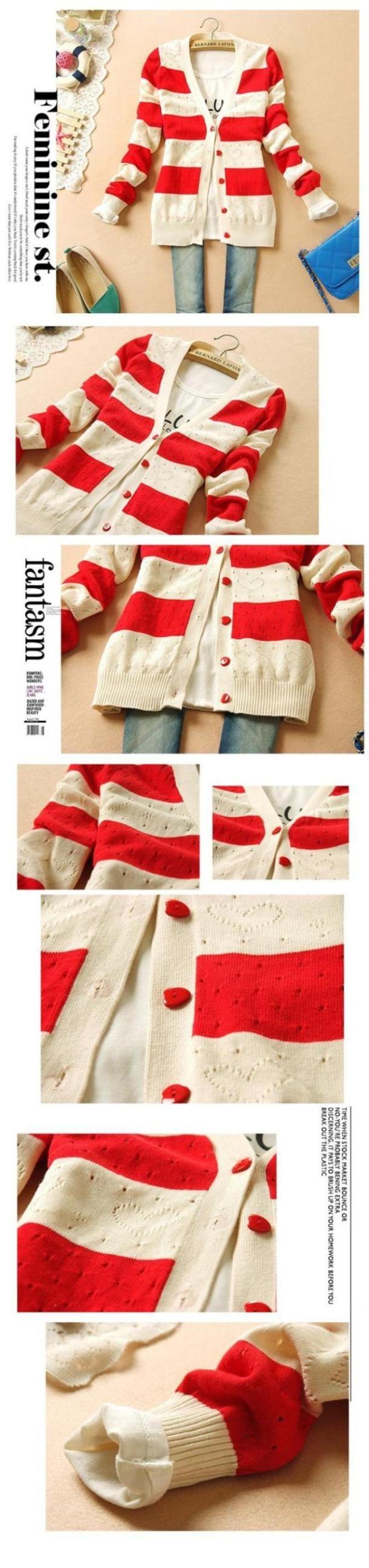 Vermelho listrado curto Cardigan mulheres camisola de malha camisolas 2015 moda feminina V Neck único Breasted Tricotado Cardigans 882 em Cardigãs de Roupas e Acessórios Femininos no AliExpress.com | Alibaba Group