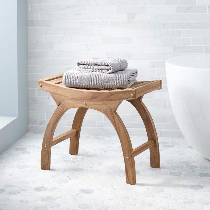 teak arched shower stool