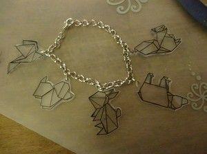 Krympplast. Armband med origamidjur