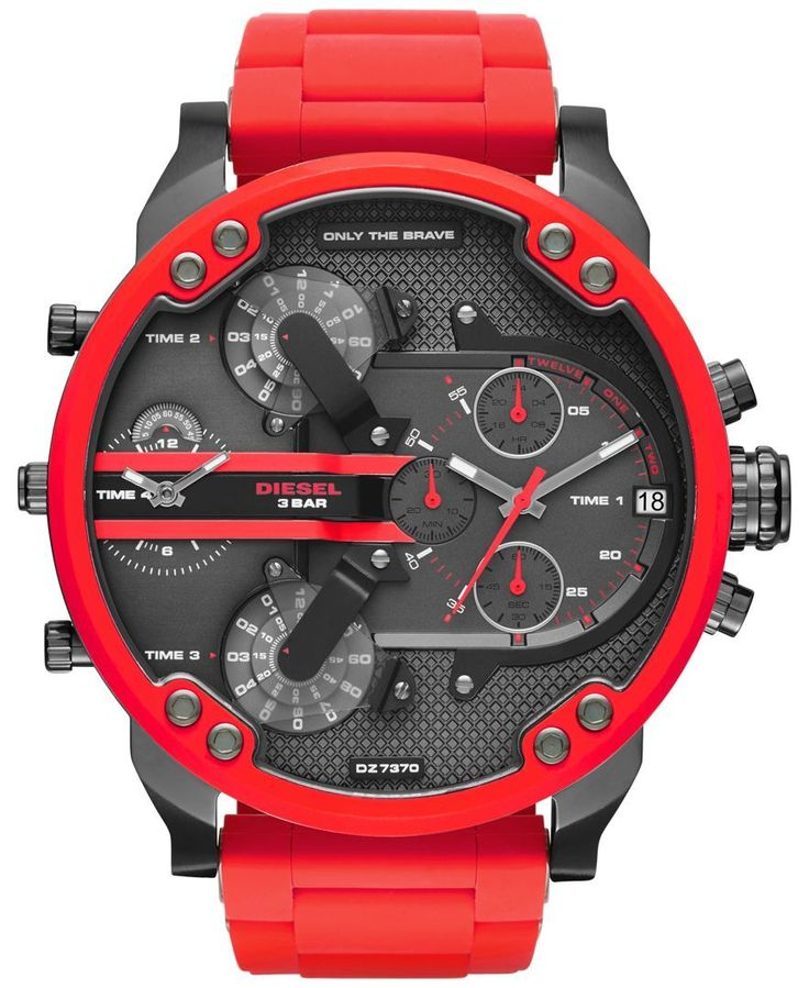 Make your presence known with this commanding red watch by Diesel, from the Mr. Daddy 2.0 collection. | Red silicone strap | Rounded red stainless steel case, 55x66mm | Gunmetal chronograph dial with