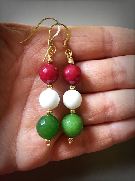 Dangle Italian earrings with red and green white Italian flag