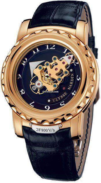 Ulysse Nardin Freak 28'800 VH $73,390 #UlysseNardin #watch #watches #luxury #chronograph rose gold case with crocodile skin bracelet and manual winding