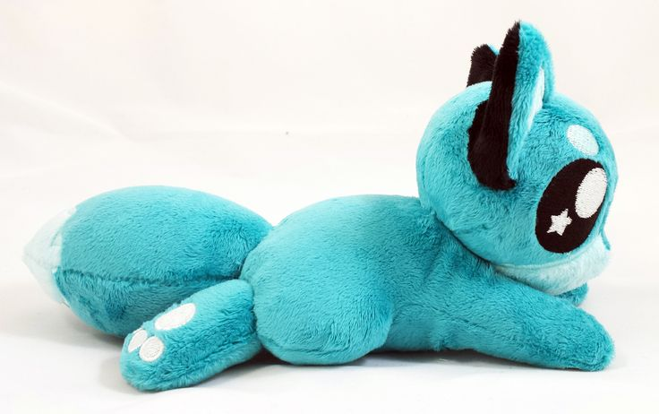 SoapyBacon   10in Teal Fox Pup Beanie Plush (Teal/Lt Blue)   Online Store Powered by Storenvy