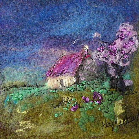 Lilac Tree cottage - Moy Mackay Gallery; felt painting