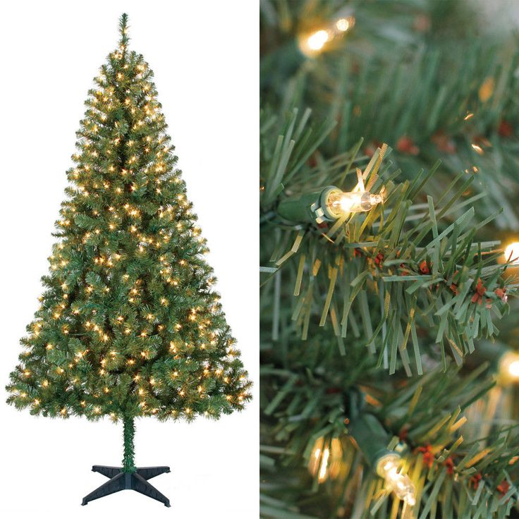 6,5ft PreLit Artificial Christmas Tree 400 Clear Lights Xmas Decoration & Stand #MassMarket