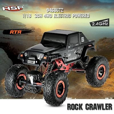 ﹩96.90. HSP 94680T2 1/18 2.4Ghz 3CH 4WD Electric Motor RTR Rock Crawler RC Car P5M1    Item name - RC Rock Crawler, ISBN - Does not apply, Year - 2016, Battery charger - US plug optional, UPC - 726035183456