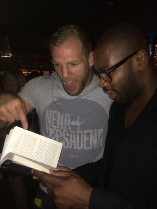 James Haskell at Emma Sayle's launch for BEHIND THE MASK - he's found a typo?