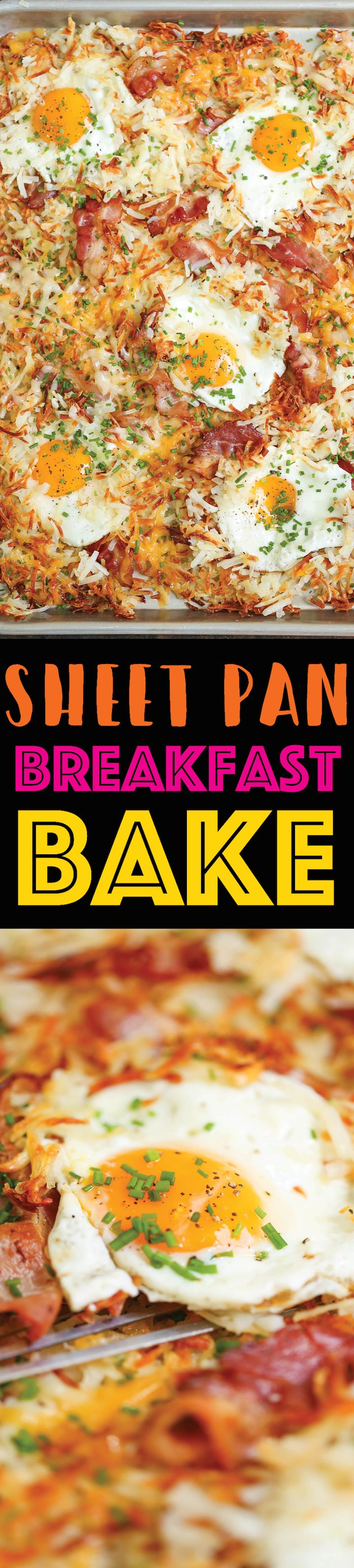Sheet Pan Breakfast Bake - No need to dirty up another pan! You'll have a FULL BREAKFAST with eggs, bacon and cheesy crisp hash browns on ONE SINGLE PAN!