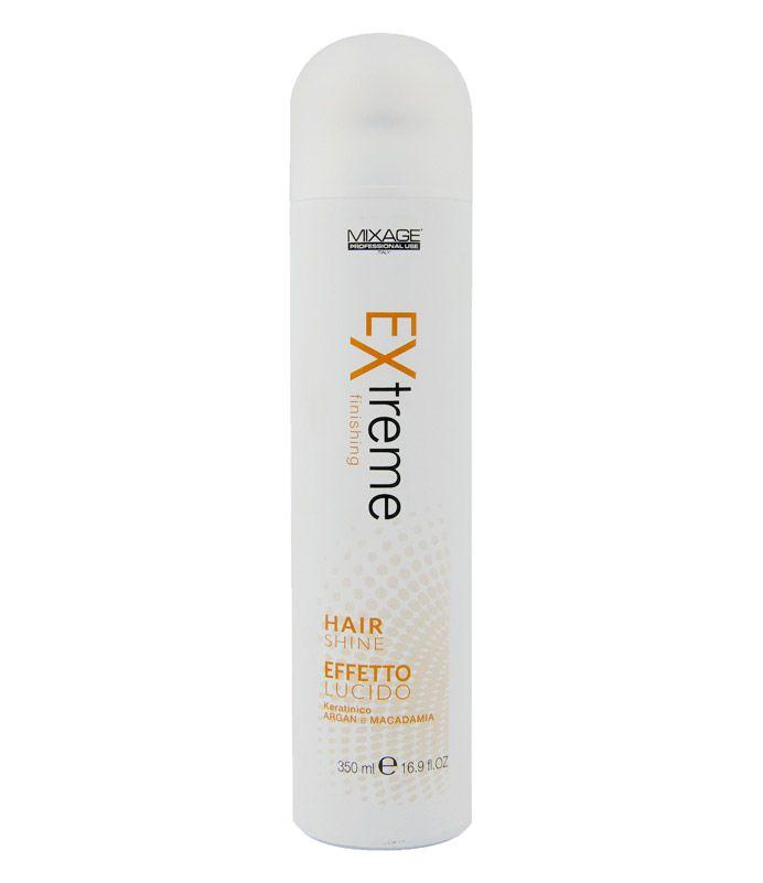 Hair Shine Extreme Effetto Lucido Keratinico con Argan e Macadamia Hair Shine apporta lucentezza alle acconciature libere o ondulate, senza appesantirle nè Fissarle. È particolarmente utile su capelli disidratati, opachi o elettrizzati. 350 ml