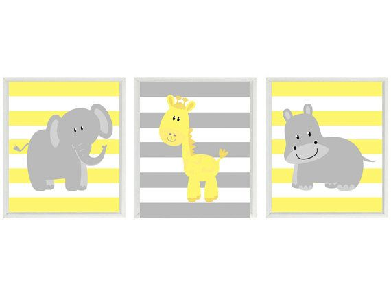 Nursery Art  Elephant Giraffe Hippo Safari Wall by RizzleandRugee
