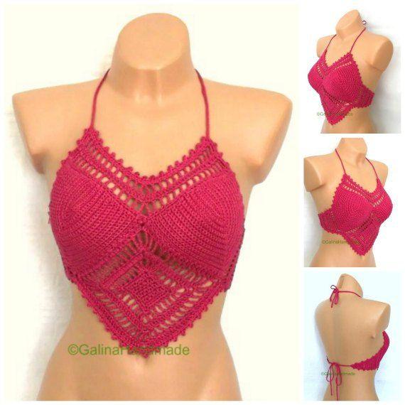 Summer Crochet Top Halter Top Tank Top Crochet by GalinaHandmade                                                                                                                                                                                 Mais
