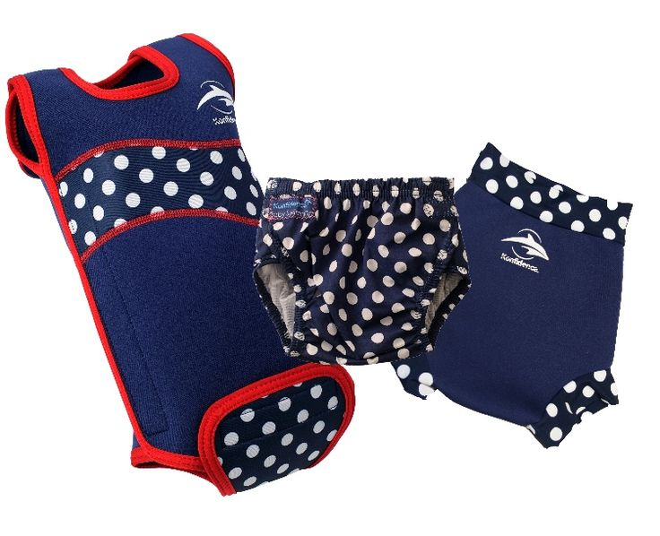 Colour co-ordinate with Konfidence's award winning Babywarma baby pool wetsuit - Polka Dot