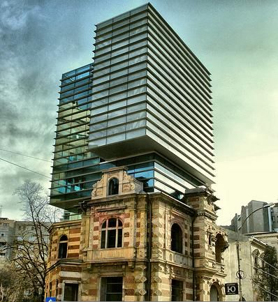 National Architects Union Headquarters, Bucharest, Romania. Interesting combination between the old and the new